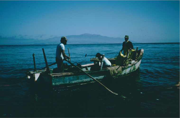 Abalone fishing boat off Natividad Island, July 1986.