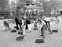 Earth Day 1970: Girls in Union Square take a sweep at pollution. Photo courtesy AP and National Geographic