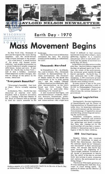 The May 1970 issue of Gaylord Nelson's Senate newsletter. He was the founder of Earth Day.