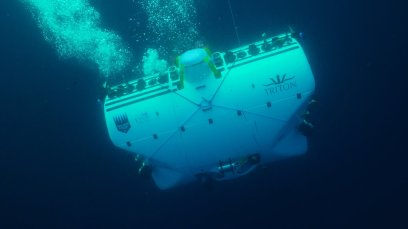 Vescovo's $48 million submersible heading down. Photo: Atlantic Productions.